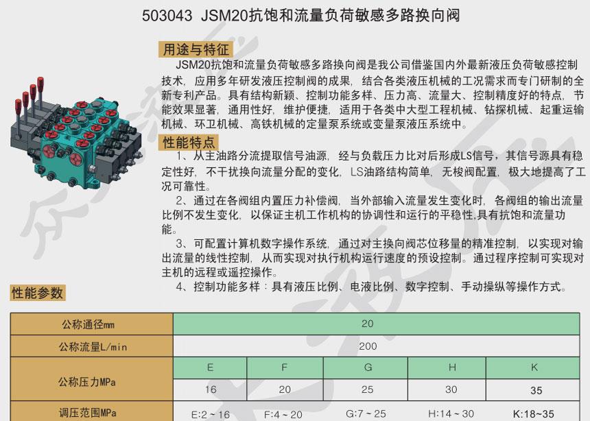 JSM20抗饱和流量负荷敏感多路千赢国际app