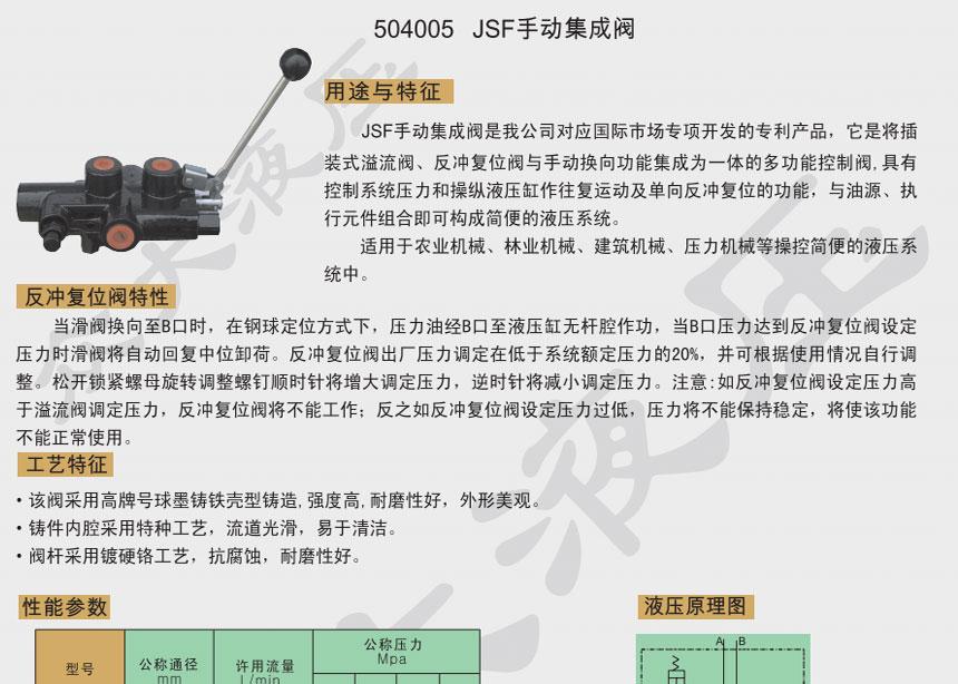 504005 JSF手动集成阀
