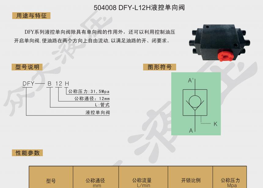 DFY-L10H液控单向阀
